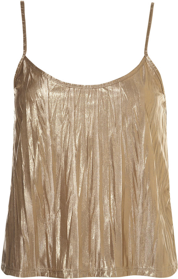 Foil Metallic Crinkle Cami Top