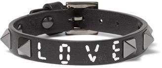 Valentino Vitello Embellished Leather Bracelet