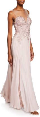 Catherine Deane Misha Sweetheart Illusion Sleeveless Silk Chiffon Gown w/ Applique Bodice