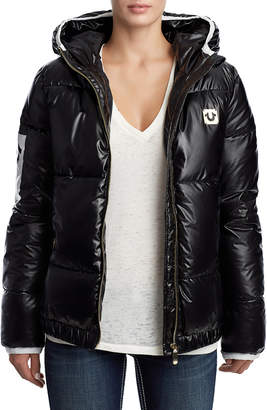 True Religion WOMENS QUILTED PUFFER COAT W/ HOOD