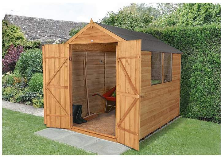 Forest Forest 8x6ft Overlap Apex Shed With Windows & Double Door With Assembly