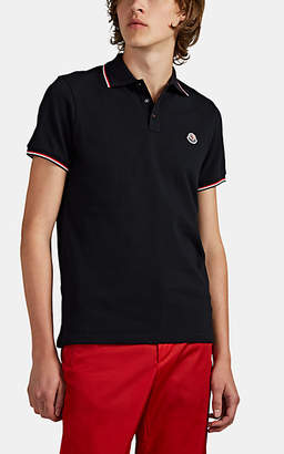 Moncler Men's Stripe-Tipped Cotton Piqué Polo Shirt - Navy