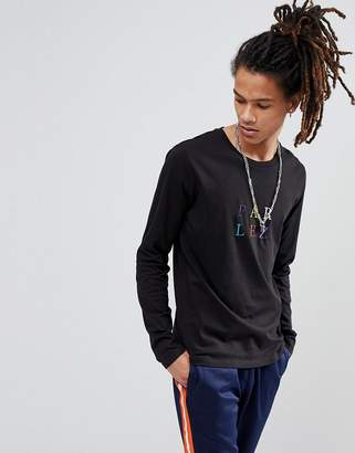 Parlez Long Sleeve T-Shirt With Multi Colour Logo In Black