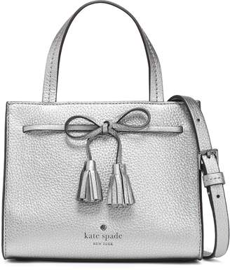 Kate Spade Bow-embellished Metallic Pebbled-leather Shoulder Bag