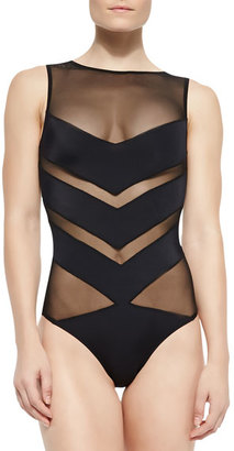 OYE Swimwear Shaw Solid/Mesh Striped One-Piece $350 thestylecure.com