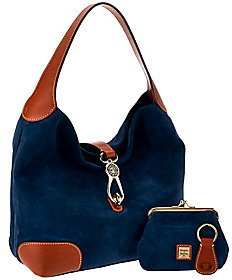 As Is Dooney & Bourke Suede Hobo with Logo Lock $179 thestylecure.com