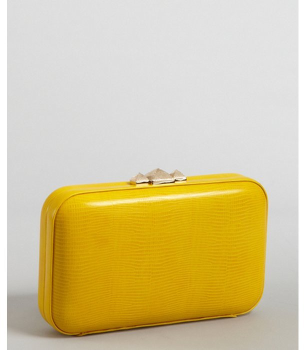 Rebecca Minkoff canary snake embossed leather pyramid studded minaudiere