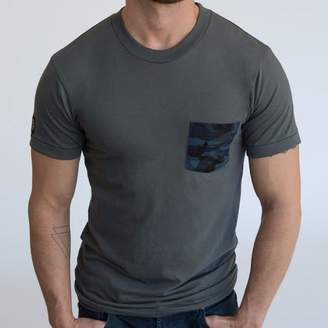 Blade + Blue Grey with Blue & Black Camo Print Pocket Tee