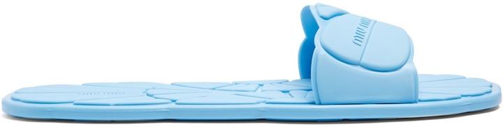 MIU MIU Flower-embossed rubber pool slides