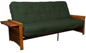 LOFT Comfort Style Bayview Attached End Table True 8-inch Cotton/Foam Futon Sofa Sleeper Bed, Full-size, Medium Oak Arms, Twill Huntergreen