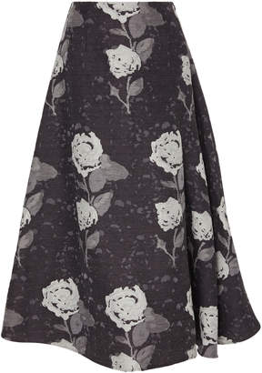 Co Floral Wool-Blend Midi Skirt