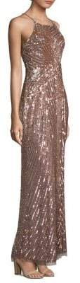 Aidan Mattox Metallic Beaded Gown