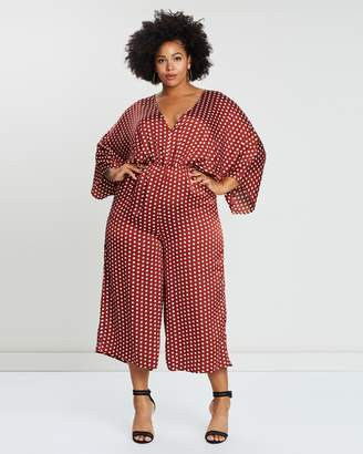Kimono Sleeve Polka Dot Jumpsuit