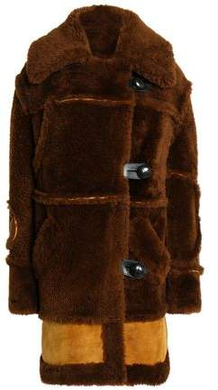 Leather-Trimmed Two-Tone Shearling Coat
