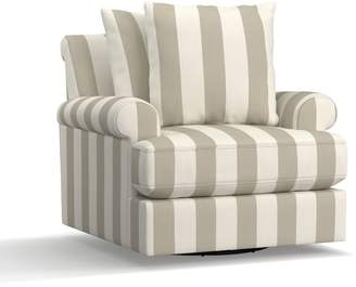 Pottery Barn Amalie Upholstered Swivel Armchair - Print and Pattern