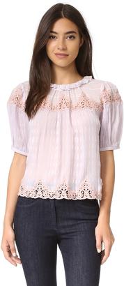 Rebecca Taylor Short Sleeve Clip Mix Top $375 thestylecure.com