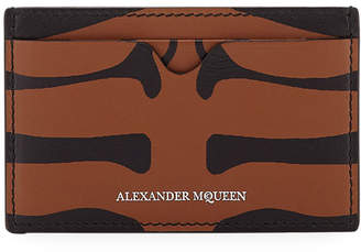Alexander McQueen Men's Animal-Print Leather Card Case