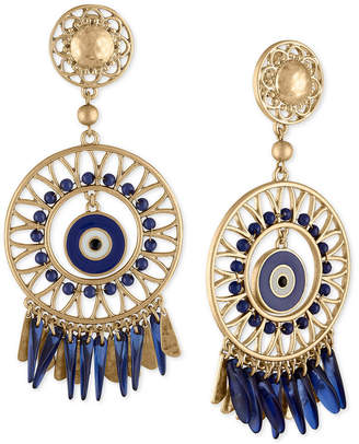 Rachel Roy Gold-Tone Bead & Drop Circular Clip-On Chandelier Earrings