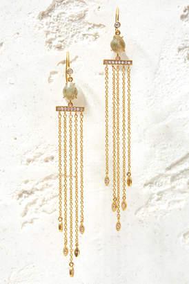 Tai Labradorite and Cubic Zirconia Chain Fringe Earrings