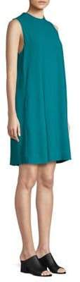 Eileen Fisher Mockneck Silk Short Dress