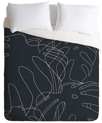 Deny Designs The Old Art Studio Monstera Queen Duvet Cover - Black