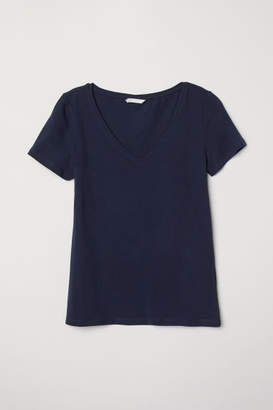 H&M V-neck Jersey Top - Blue