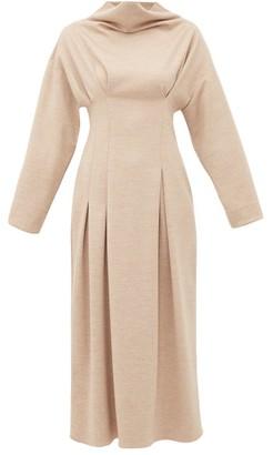 Roksanda Marea Cowl Neck Wool Jersey Midi Dress - Womens - Beige