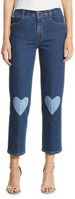 Peserico Women's High-Rise Cropped Straight Heart-Detail Jeans - Transparent, Size 30 (8-10)