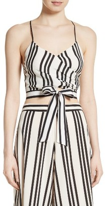 Women's Alice + Olivia Rayna Tie Front Crossover Crop Tank $225 thestylecure.com