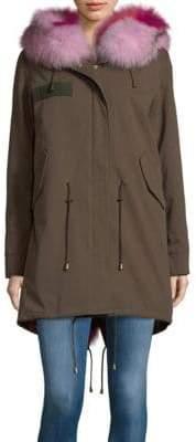 Fox Fur-Trimmed Midi Coat