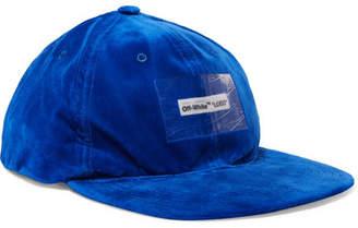 Off-White Appliquéd Velvet Baseball Cap - Blue