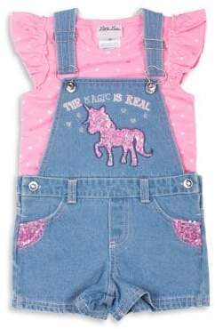 Little Lass Litle Girl's Two-Piece Printed Top and Denim Shortall Set