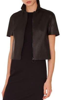 Akris Punto Kent-Collar Short-Sleeve Zip-Front Perforated Napa Leather Jacket