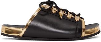 Balmain Black & Gold Lace-Up Sandals $620 thestylecure.com