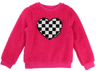 Little Marc Jacobs Soft Faux-Fur Heart Illustration Sweater, Size 6-10