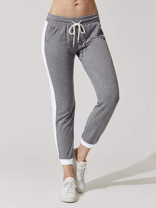 Monrow DARK HEATHER COLOR BLOCK ELASTIC WAIST SPORTY SWEAT