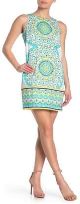 London Times Mandala Sleeveless Shift Dress