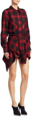 Alexander Wang Wool Tie-Front Check Shirt Dress