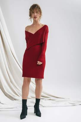 C/Meo COLLECTIVE FEATURE KNIT DRESS crimson