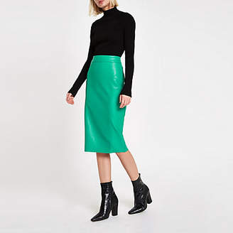 River Island Bright green faux leather pencil skirt