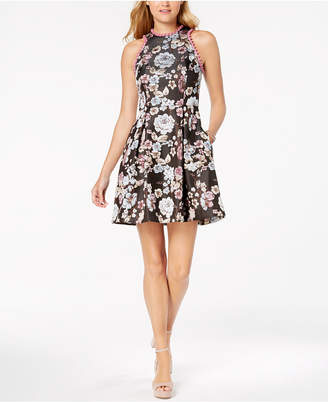 Laundry by Shelli Segal Floral-Printed Pom Pom Fit & Flare Dress