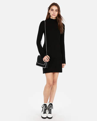 Express Ribbed Mock Neck Shift Dress