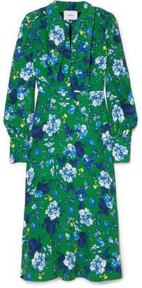 Erdem Ellera Floral-print Crepe Midi Dress - Green