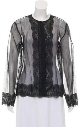 Christopher Kane Lace-Accented Mesh Cardigan w/ Tags Black Lace-Accented Mesh Cardigan w/ Tags