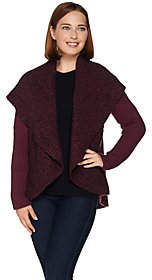 Lisa Rinna Collection Open Front Shawl CollarWrap Sweater