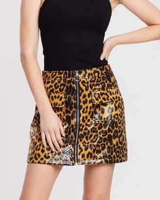 Missguided Leopard Vinyl Pocket Front Mini Skirt
