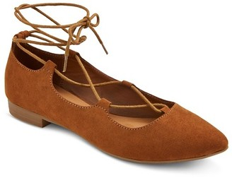 Women's Kady Pointed Toe Lace Up Ballet Flats - Mossimo Supply Co.  $24.99 thestylecure.com