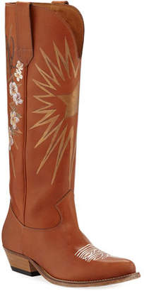 Golden Goose Wish Star Painted Western Boots