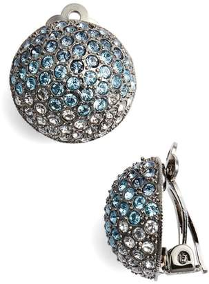 Nina Medium Pave Button Clip Earrings