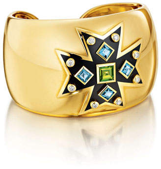 Verdura Peridot, Topaz & Diamond Maltese Cross Cuff Bracelet